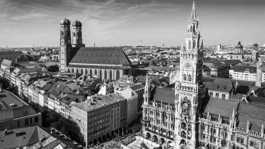 View of Munich black and white